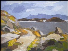 Kyffin Williams, Skye from Harris, 1954, oil on canvas