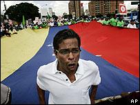 Manifestación en Caracas contra el gobierno de Hugo Chávez