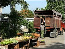Stalls at farmers' market