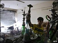 Café en el que estalló una bomba en Gaza
