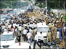 Police investiagte at one of Friday's blast sites in Bangalore