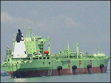 The LPG vessel on the Bonny river which was attacked by gunmen