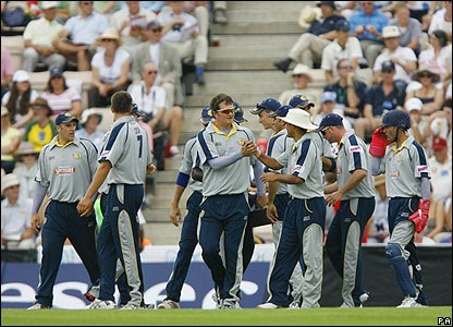 Key is congratulated by his Kent team-mates