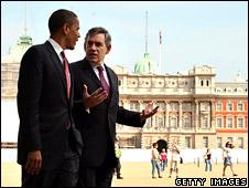 Prime Minister Gordon Brown and Senator Barack Obama in Horse Guards Parade, London