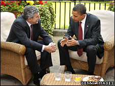 Prime Minister Gordon Brown and Senator Barack Obama in garden of 10 Downing Street, London