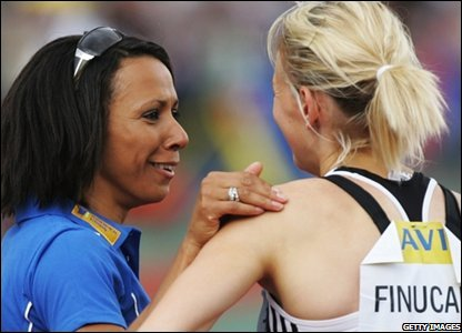 Dame Kelly Holmes (left) with Laura Finucane