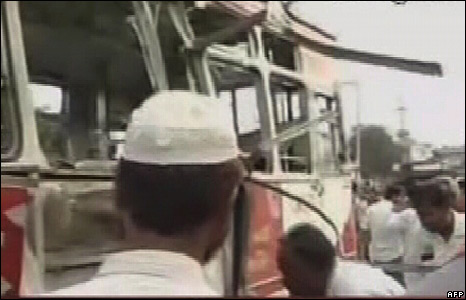A TV grab from an Indian news channel shows a bus damaged by a blast in Ahmedabad
