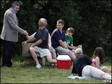 Gordon Brown meets visitors at Whitlingham Country Park