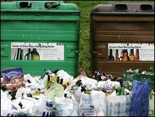 recycling bins and bottles