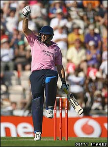 Tyron Henderson celebrates hitting the winning runs for Middlesex