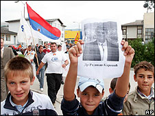 Children join a protest in Pale