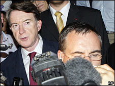 EU trade negotiator Peter Mandelson at WTO talks