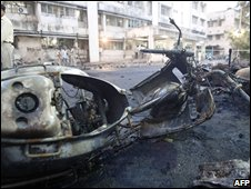 Wreckage outside a hospital in Ahmedabad