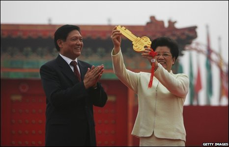 Chen Zhili, the Village Mayor, receives the symbolic key to the village