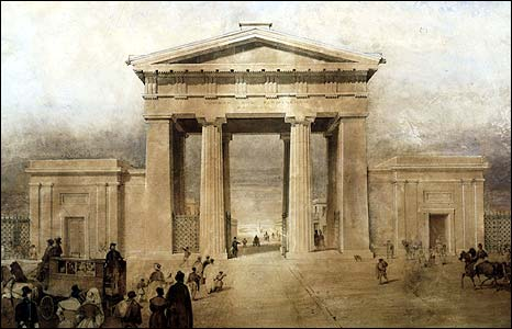 Painting of the Euston arch by John Cooke Bourne (Picture: National Railway Museum).