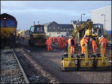 Rail maintenance workers