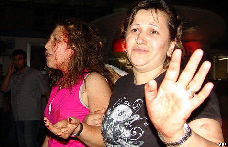 Two injured women near the scene of one of the blasts