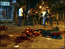 Bloody blankets at the scene of the blasts