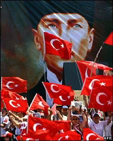 Secularist demonstration in Turkey (19 July 2008)