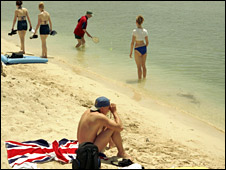British holidaymakers on Spanish beach