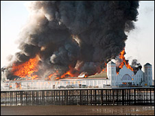 Fire at Grand Pier: Picture by Peter Tyler