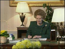 Mrs Thatcher at her desk in 1990