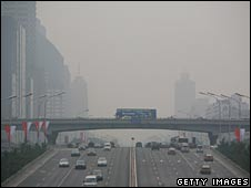 Beijing's central business district shrouded in smog on Monday