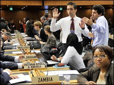 Negotiators gesture during at WTO session