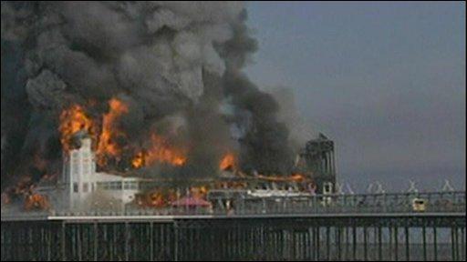 Pier on fire