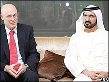 US Treasury Secretary Henry Paulson with Dubai ruler Sheikh Mohammed bin Rashed al-Maktoum