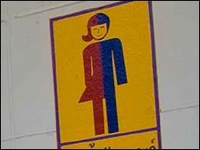 The sign to the transsexual toilet in Kampang Secondary School, north-east Thailand