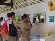 The toilet for transsexual pupils in Kampang Secondary School, north-east Thailand