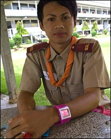 A transsexual pupil at Kampang Secondary School, north-east Thailand