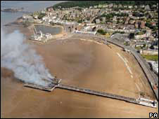 The Grand Pier at Weston-super-Mare on fire