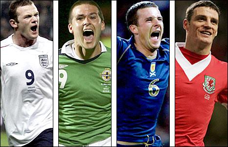 England's Wayne Rooney, Northern Ireland's David Healy, Scotland's Barry Ferguson and Wales' Jason Koumas