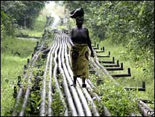Woman walks along pipeline