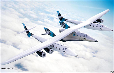 Artist's impression of the Virgin White Knight Two carrier aircraft and the SpaceShipTwo