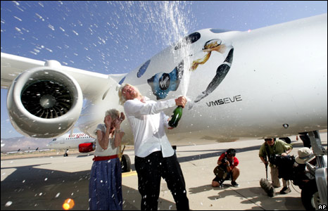 Richard Branson at the unveiling of White Knight Two with his mother Eve Branson