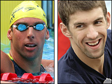 Grant Hackett (left) and Michael Phelps