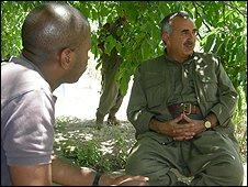 The BBC's Clive Myrie meets PKK leader Murat Karyilan