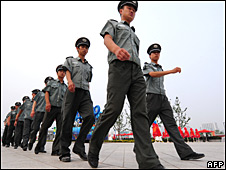Security guards at Beijing's Olympic Green on 28 July 2008