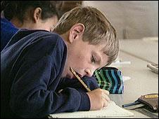 Child doing exams