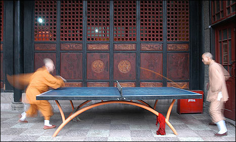 Sean Hawkey's photo of Buddhist monks playing table tennis in a monastery in Chengdu