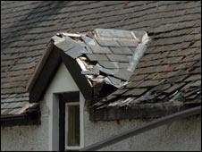 Amanda Sandland's damaged roof (picture: dailypost.co.uk)