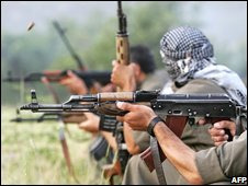PKK fighters practice shooting in Northern Iraq