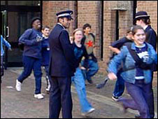 Police officers at a school