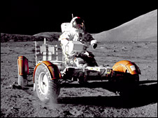 Eugene Cernan in the Lunar Roving Vehicle (Nasa)
