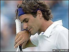 Roger Federer toiled against Roby Ginepri before winning