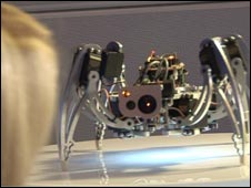 Woman looking at 'ic Hexapod'