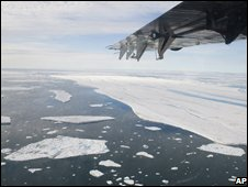 Ice drifts away from the Ward Hunt ice shelf in northern Canada